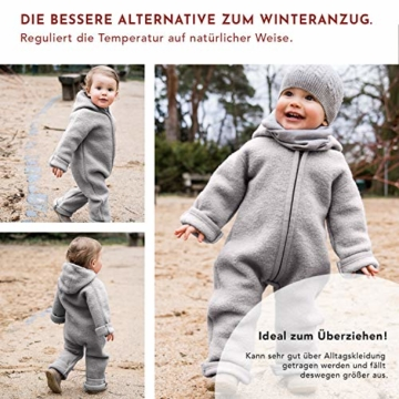 Halfen Wollwalk Overall Baby aus Bio Natur Schurwolle, Farbe: Delfin, Grösse 62 68, Baby Overall Wolle, Baby Wollwalk Anzug, Overall Baby Wolle, Walk Anzug - 6
